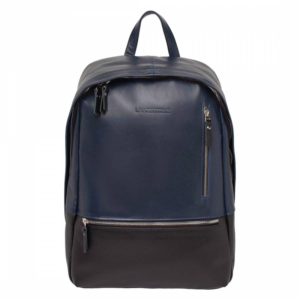 Кожаный рюкзак для ноутбука Adams Dark Blue/Black фото