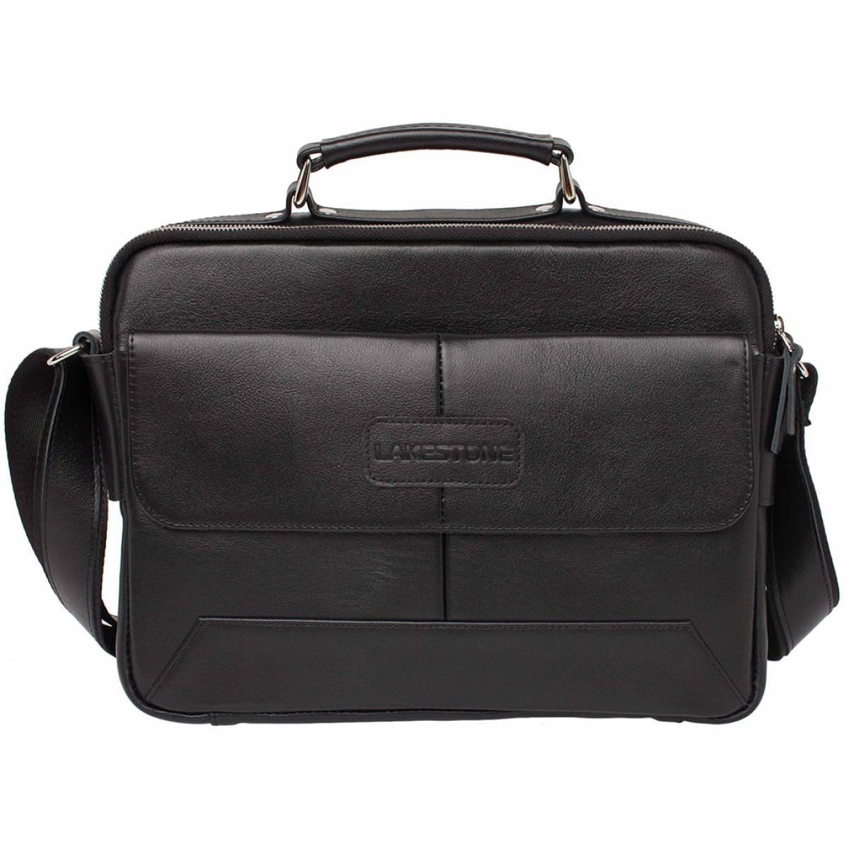 Кожаная мужская сумка мессенджер Button Black