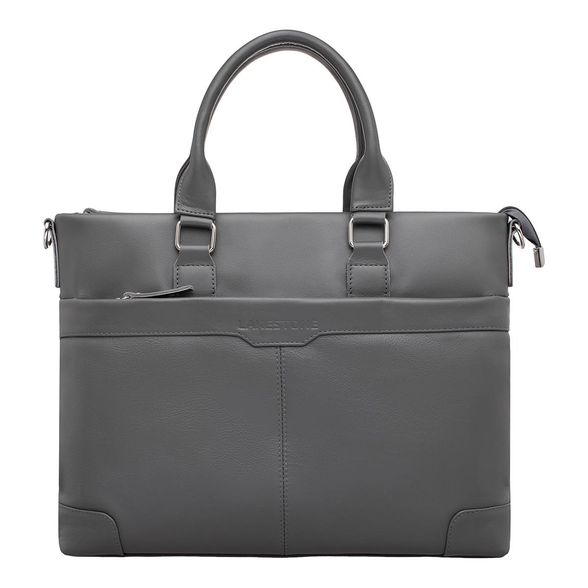Кожаная деловая сумка Gilroy Grey фото