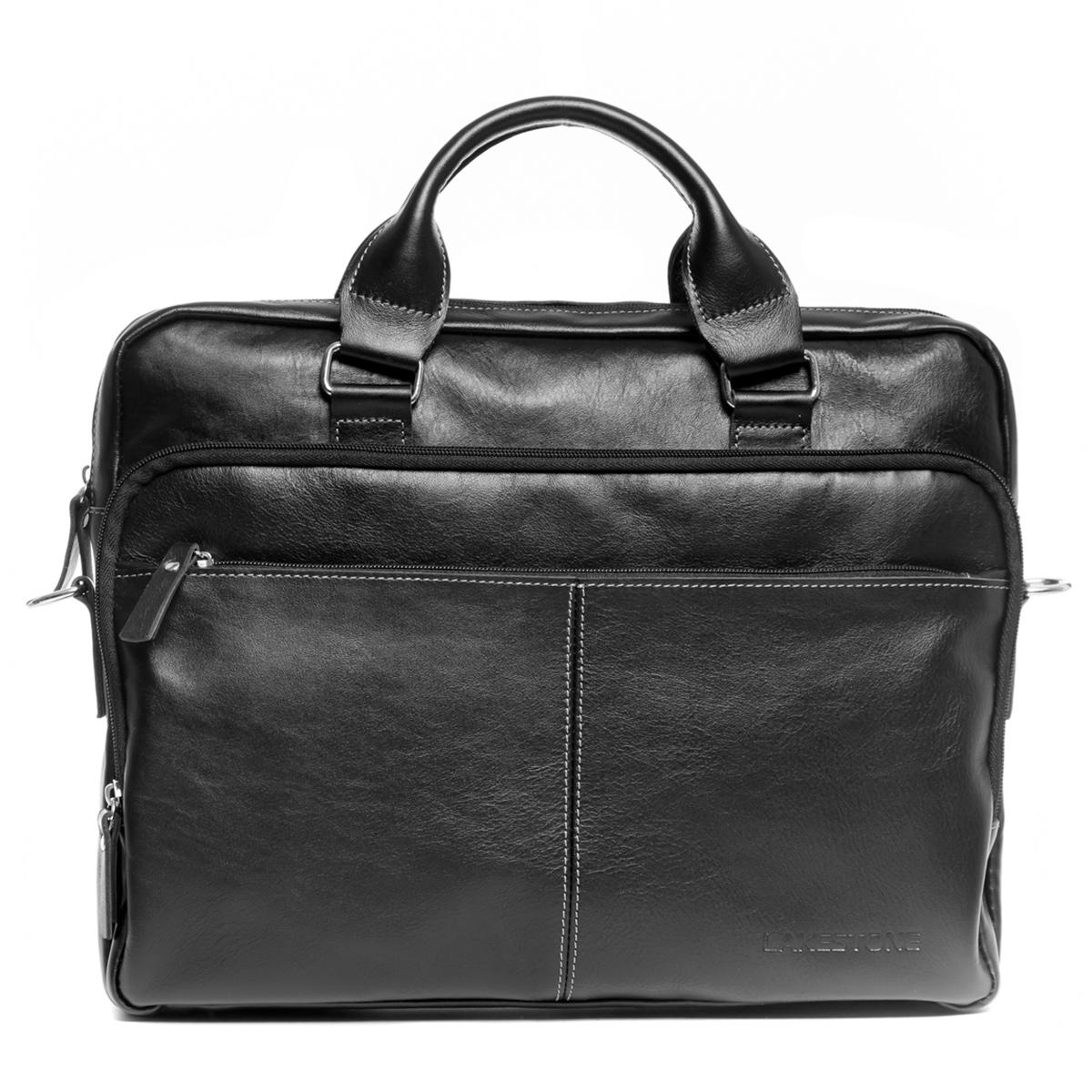 Кожаная деловая сумка для ноутбука Glenroy Black фото