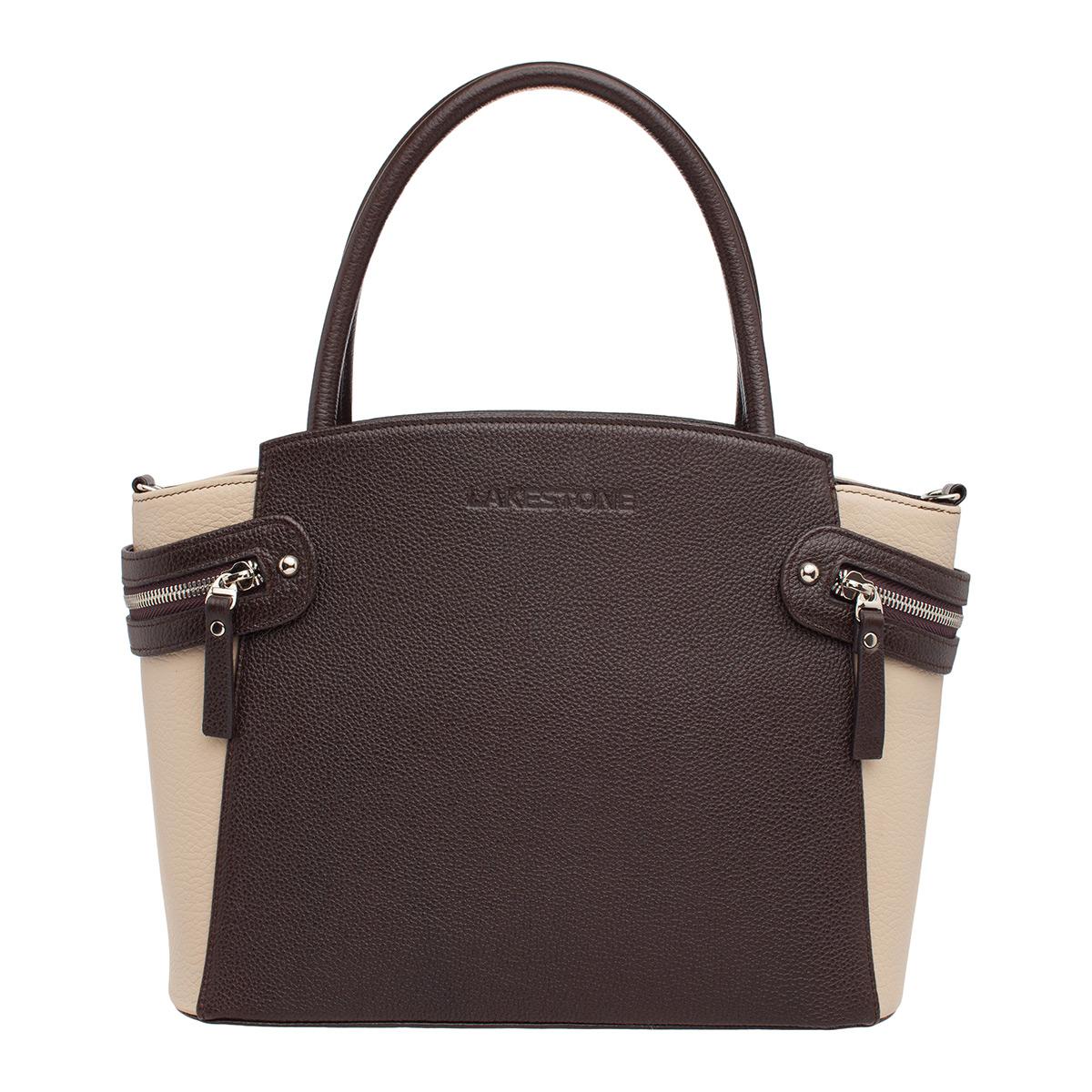 Купить Кожаная женская сумка Hacket Brown/Beige