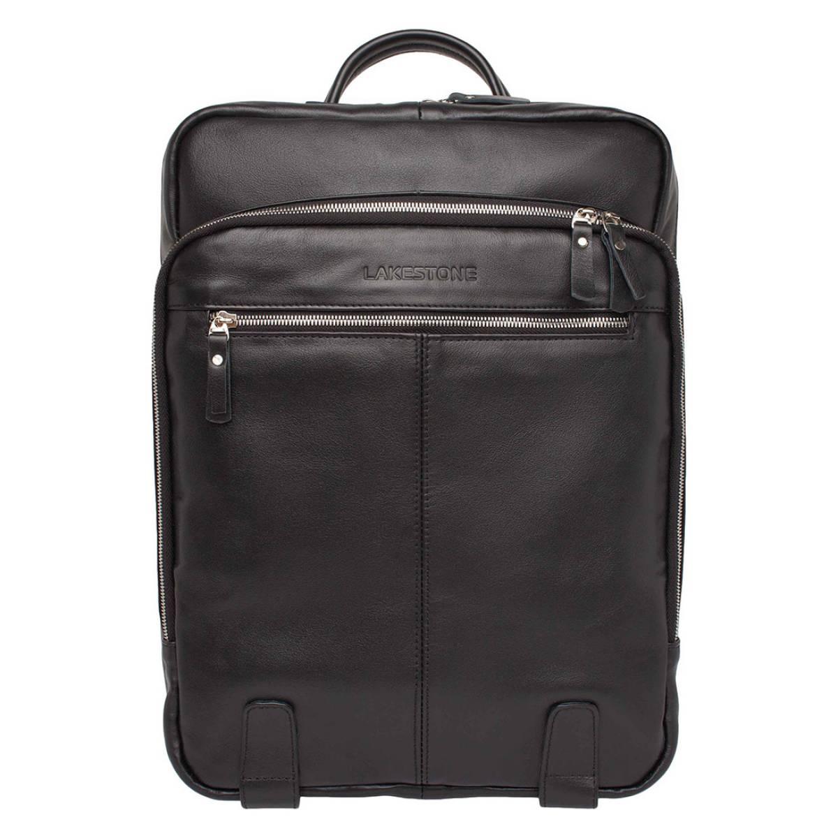 Мужской кожаный рюкзак для ноутбука Salmons Black фото