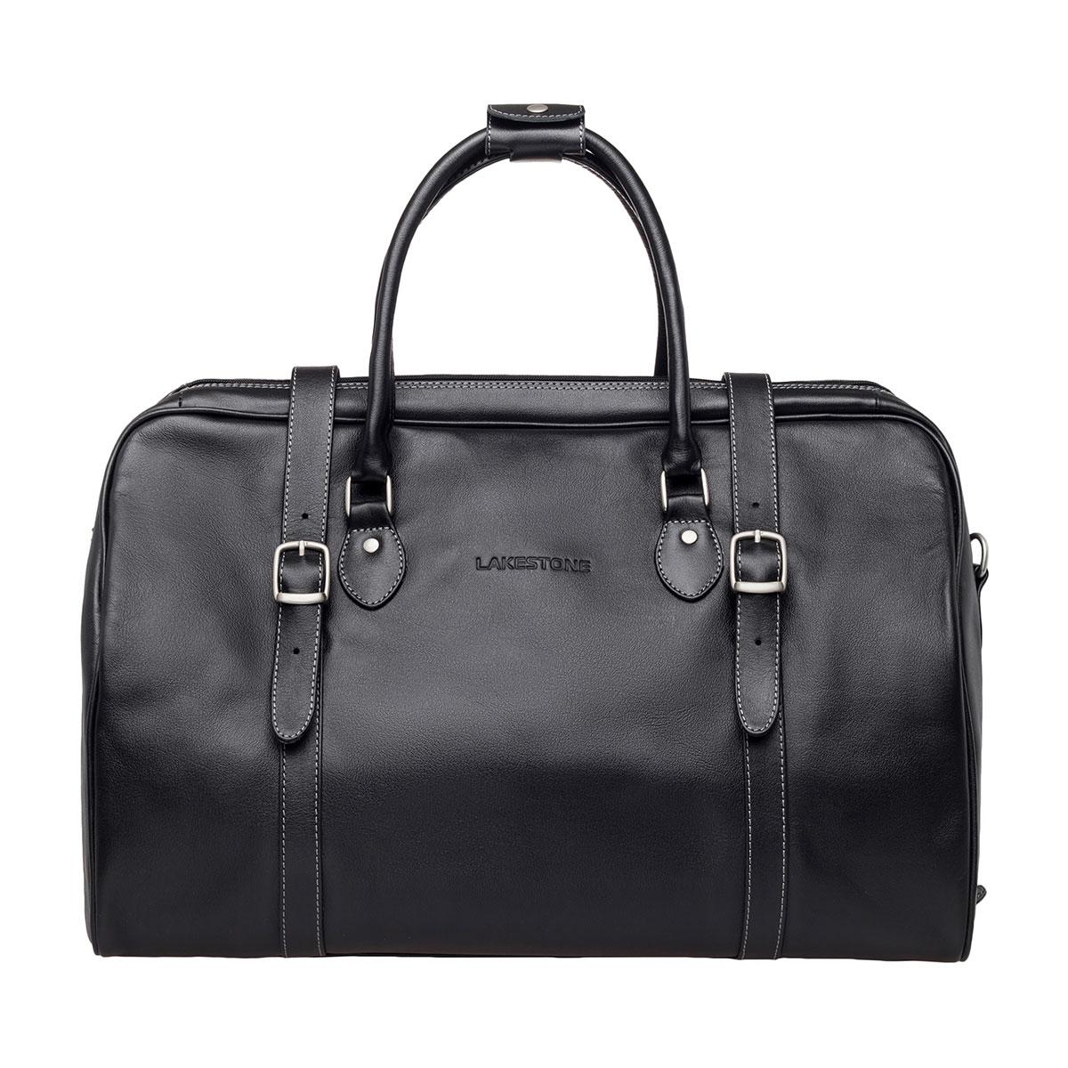Дорожная кожаная сумка Sandford Black